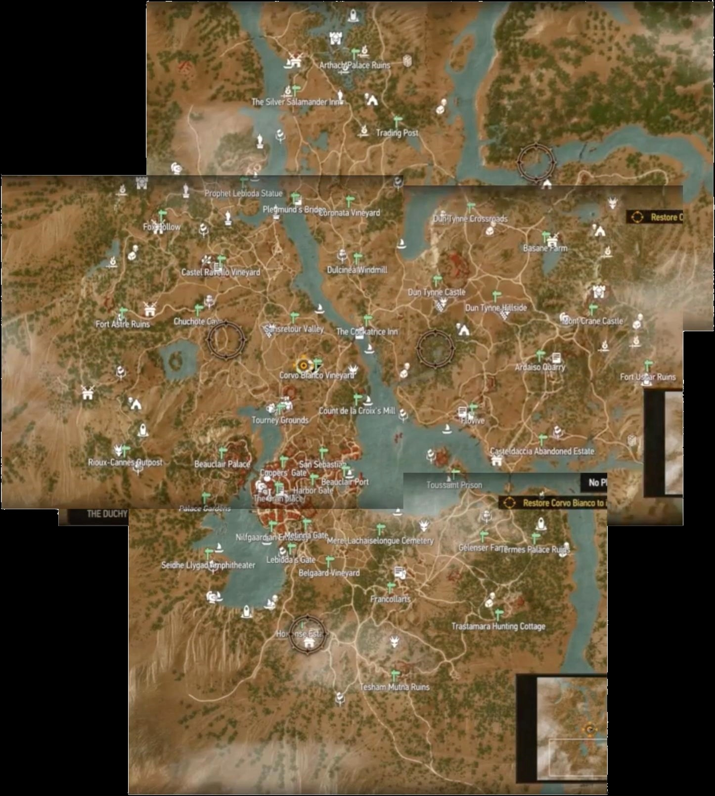 Map of Toussaint from Witcher 3: The Blood and Wine DLC | Feed4gamers